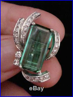 Retro Vintage 18ct White Gold Green Tourmaline And Diamond Clip Earrings