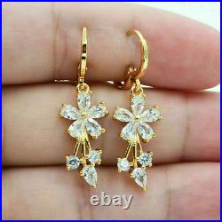 Retro Vintage Drop Dangle Cluster Earrings 2.5 Ct Diamond 14k Yellow Gold Plated
