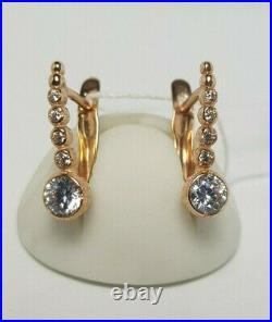 Russian Earrings gold NEW track Solid Rose gold 14K 585 Russia 2.51g Vintage