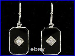 S Genuine 9K SOLID White Gold Natural Diamond & Onyx Drop Earrings Vintage style