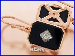 S Genuine 9ct SOLID Rose Gold Natural Diamond & Onyx Drop Earrings Vintage style