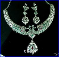 Stunning Antique 14kt Ruby Emerald Diamond Peacock Necklace Earrings Set