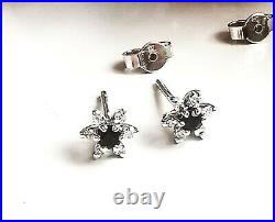 Stunning Secondhand 9ct White Gold Sapphire And Diamond Cluster Stud Earrings