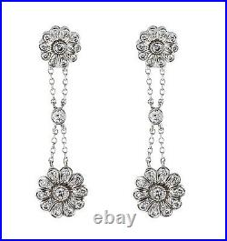 Tiffany and Co Vintage Platinum and Diamond Rose Earrings