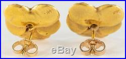VINTAGE 14K GOLD PANSY FLOWER EARRINGS with DIAMONDS
