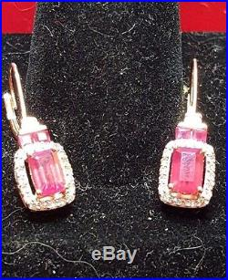 VINTAGE 14K GOLD lab created RED RUBY & DIAMOND ACCENT EARRINGS drop dangle