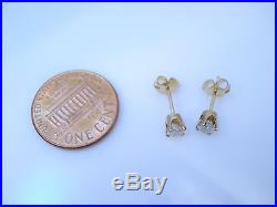 Vintage 14k Yellow Gold. 50 Cttw Diamond Solitaire Stud Earrings