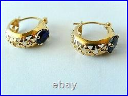 VINTAGE 14k Yellow Gold Decorative 15mm x 6mm 1CT Oval Sapphire Earrings