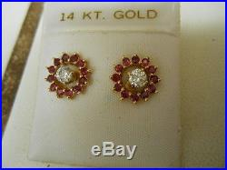 Vintage Pair Of 14kt Yellow Gold Rubies And Diamond Earrings Brilliant