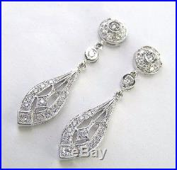 VINTAGE STYLE EARRING 14 KT WHITE GOLD With. 50 CT DIAMONDS