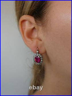 Victorian Ruby Diamond Silver Gold Drop Stud Cluster EARRINGS Antique