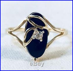 Vintage 10K Solid Yellow Gold Black Onyx and Diamond Earrings And Ring Set