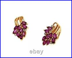 Vintage 14K Yellow Gold Red Ruby & Diamond Cluster Earrings
