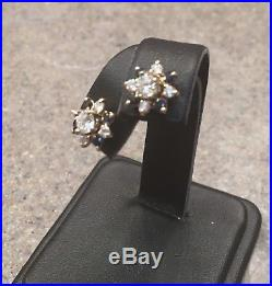 Vintage 14K Yellow Gold Round Diamond Stud Earrings With Blue Sapphire Jackets