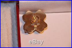 Vintage 14K solid Gold and Diamonds Earrings 10 gram 2.5 X 2.5 cm
