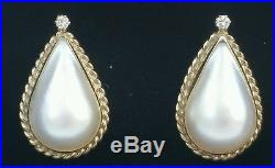 Vintage 14k Yellow Gold Mabe Pearl Diamond Earrings Estate Jewelry 6.4 gm