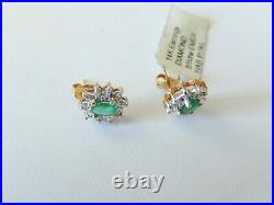 Vintage 14k Yellow & White Gold Natural Emerald And Halo Diamond Earrings