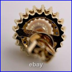 Vintage 18K Yellow Gold Pearl Diamond and Sapphire Stud Earrings