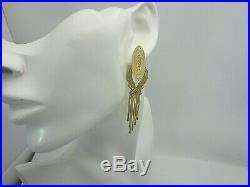 Vintage 18K Yellow Gold and Diamond Dangle Earrings 0.50 CT over 3 inches