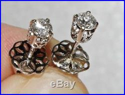 Vintage 18ct White Gold 0.50ct Diamond Solitaire Stud Earrings Excellent Quality