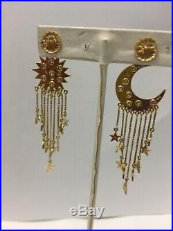 Vintage 18k Yellow Gold And Diamond Stars Moon And Sun Hanging Earrings