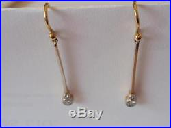 Vintage 1980s Yellow & White Gold Modernist Drop Earrings With Diamonds