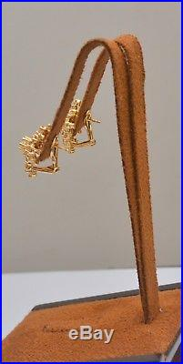 Vintage 1.34 Ct Diamond Cluster Earrings in 14k Yellow Gold with French Back