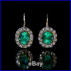 Vintage 2Ct Emerald & Diamond 14K Yellow Gold Over Solitaire Stud Earrings
