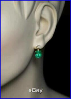 Vintage 4.00 Ct Emerald & Diamond 14K Yellow Gold Over Solitaire Stud Earrings