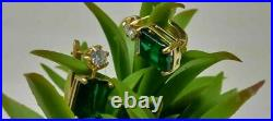 Vintage 4.10 Ct Emerald & Diamond Solitaire Stud Earrings 14K Yellow Gold Over