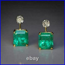 Vintage 4.50 Ct Emerald & Diamond 14K Yellow Gold Over Solitaire Stud Earrings