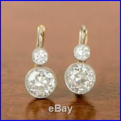 Vintage Art Deco Earring 3.0 Ct Round Ct Diamond Engagement 14K White Gold Over