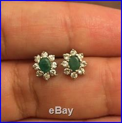 Vintage Designer 9 Ct White Gold Emerald And Diamond Earrings Green Stud Cluster
