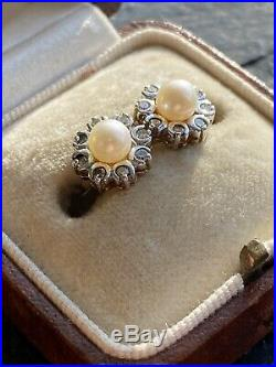 Vintage Diamond And Pearl Earrings In 9ct Yellow Gold