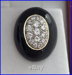Vintage Diamond Earrings Hand-made In 18k Gold With Hand-applied Enamel, Rare