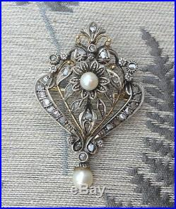 Vintage Diamond Pearl Bow Drop Earrings and Antique Shield Brooch Pendant set