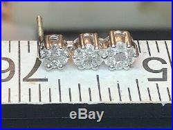 Vintage Estate 14k White Gold Natural Diamond Earrings Flowers With Appraisal