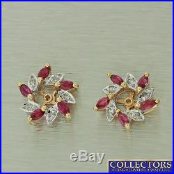 Vintage Estate 14k Yellow Gold Diamond Ruby Earring Jackets for 4.5mm Stud Stone