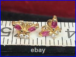 Vintage Estate 14k Yellow Gold Natural Red Ruby Diamond Earrings Butterflies