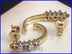 Vintage Estate 14k Yellow Gold Natural Red Ruby Diamond Earrings Signed A