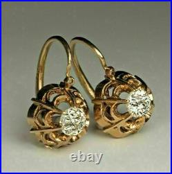 Vintage Inspire Art Deco Cluster Earrings 1.72 CT Diamond 14K Yellow Gold Plated