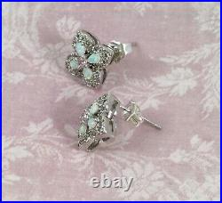 Vintage Jewellery Gold Opal Earrings Pink White Sapphires Antique Deco Jewelry