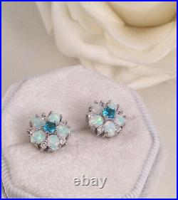 Vintage Jewellery Gold Opal Earrings White Sapphires Aquamarines Antique Jewelry