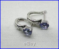 Vintage Lovely Pair Of 14 Carat White Gold Tanzanite And Diamond Earrings