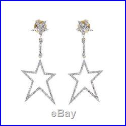 Vintage Style Pave Diamond 14k Solid Yellow Gold Star Earrings Jewelry for Women