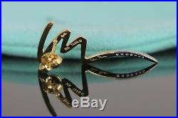 Vintage Tiffany Co Paloma Picasso PLAT 18K Yellow Gold Diamond Scribble Earrings