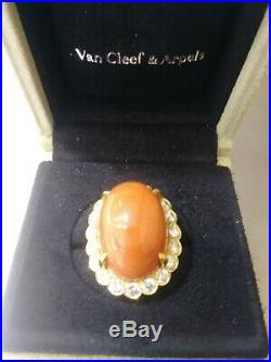 Vintage Van Cleef & Arpels VCA 18KT Yellow Gold Diamond Coral Cocktail Ring