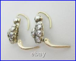 Vintage Victorian Art Deco Floral 3Ct Diamond Halo Earrings 14K Yellow Gold Over