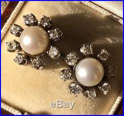 Vintage White Gold Large Oversized Pearl And Diamond Cluster Earrings Ear Studs