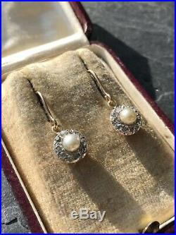 Vintage Yellow Gold Pearl And Diamond Cluster Halo Drop Earrings Hook